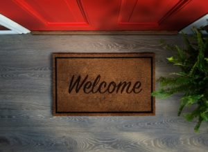Floor mat welcoming you to visit your Midlothian, TX family dentist